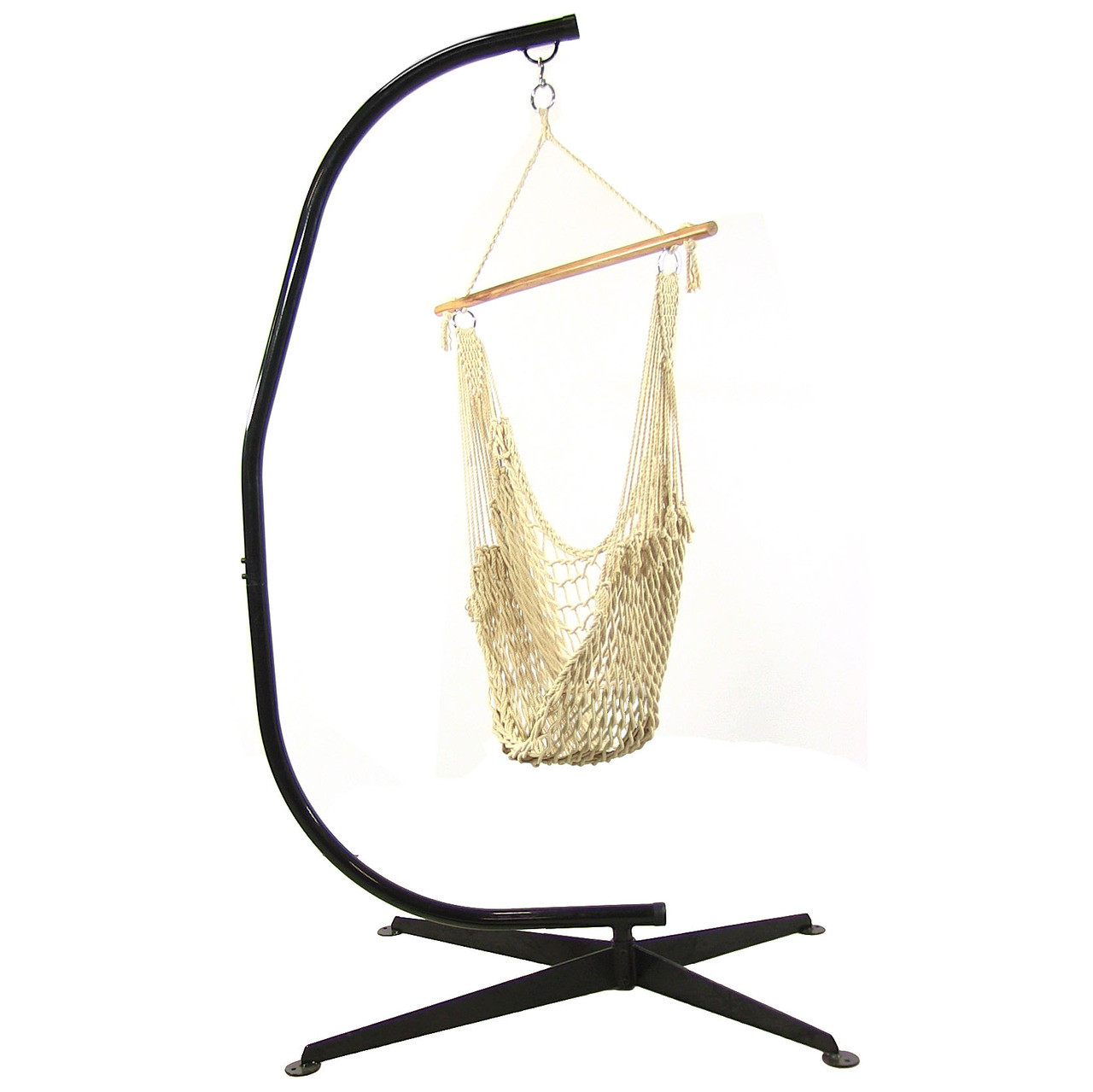 Sunnydaze Cotton Rope Hammock Chair Wood Bar C Stand Combo Natural  Photo