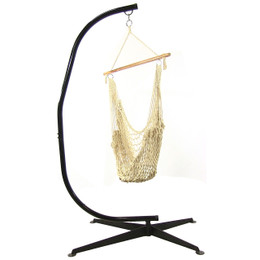 sunnydaze cotton rope hanging hammock chair swing with cstand 48 inch wide seat