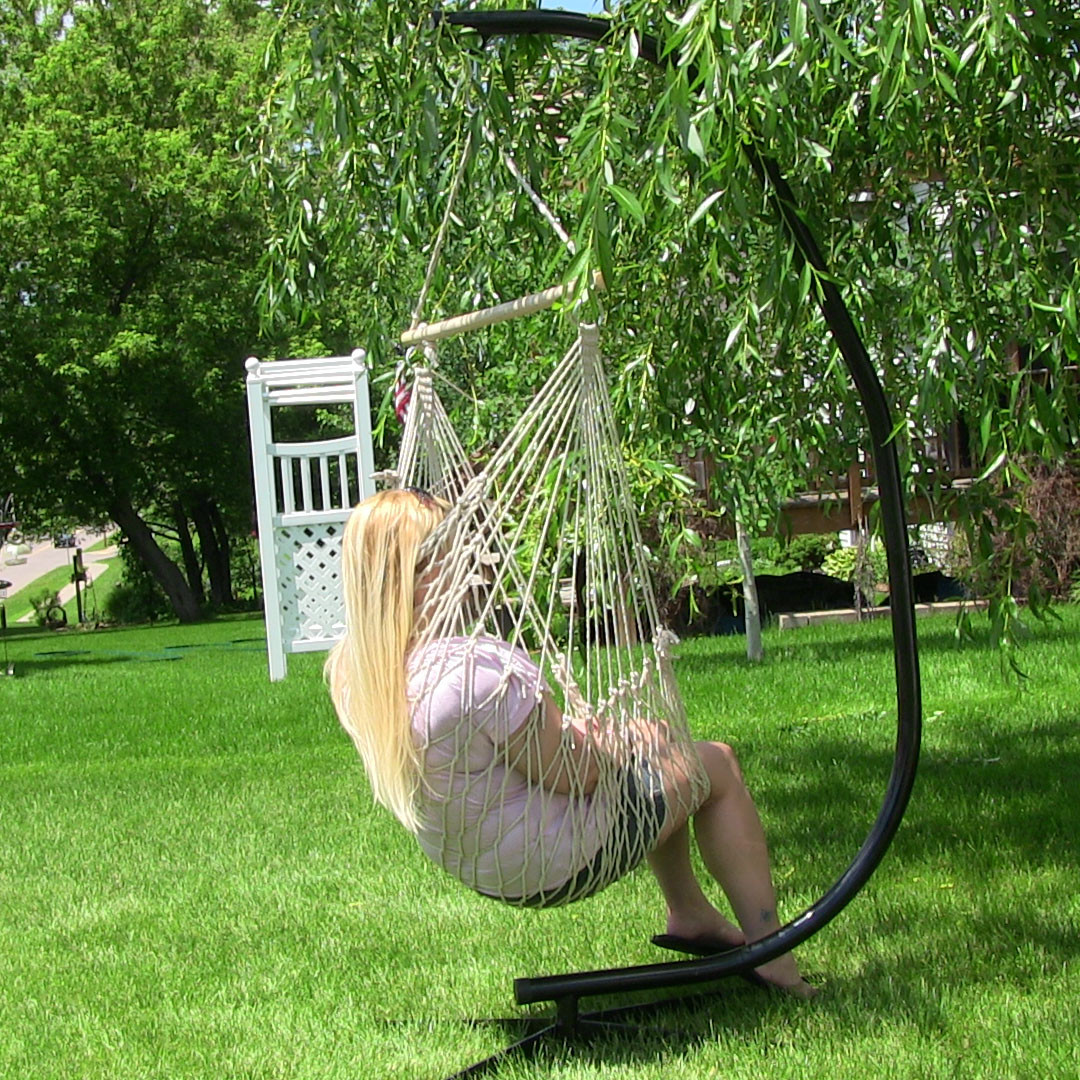image 8     cotton rope hammock chair with wood bar and c stand  bo by      rh   serenityhealth