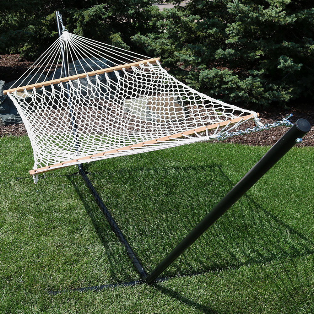 image 5    image 6 sunnydaze 2 person polyester spreader bar rope hammock with 15      rh   serenityhealth