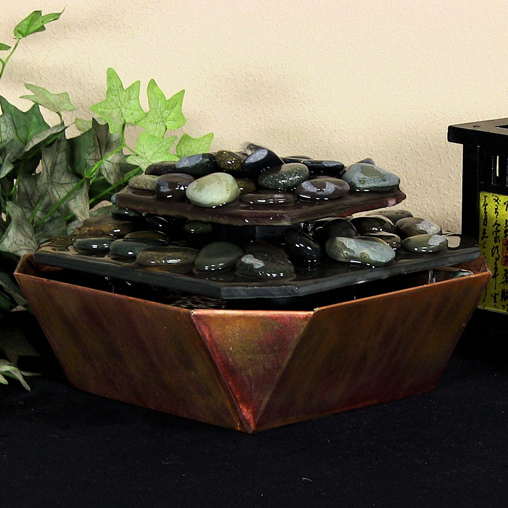 Sunnydaze Copper Slate Table Rock Tabletop Fountain Tall Picture 315