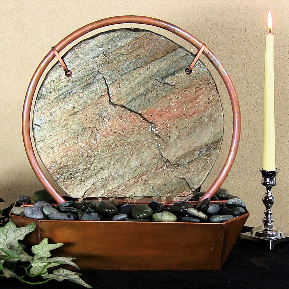 Sunnydaze Moonrise Tabletop Fountain Copper Tall Picture 270