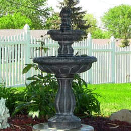 Sunnydaze Two Tier Tulip Solar On Demand Outdoor Water Fountain, Black Finish, 36 Inch Tall