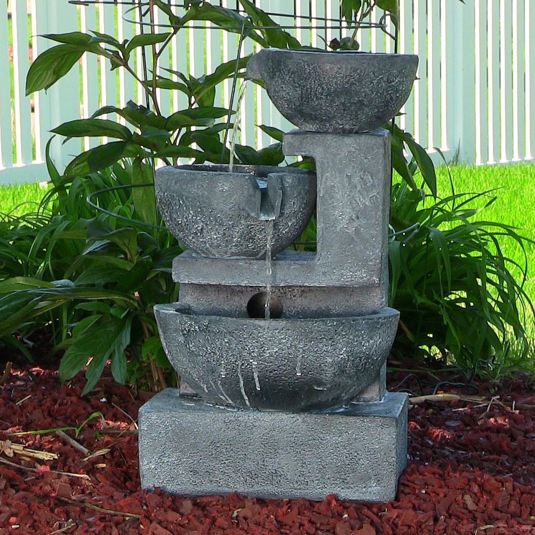 Sunnydaze Old World Cascading Bowls Solar on Demand Fountain Tall Photo