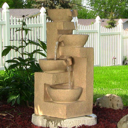 Sunnydaze Four Bowls Cascading Fountain with LED Lights