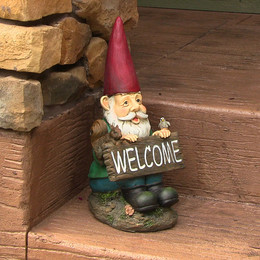William the Welcome Gnome, 14 Inch Tall by Sunnydaze Decor