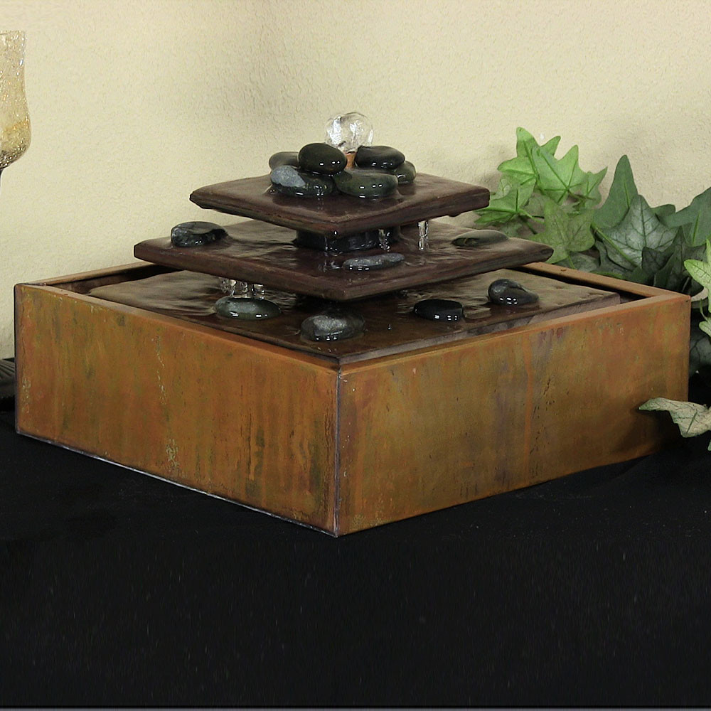 Sunnydaze Cascading Pyramid Copper Tabletop Fountain Picture 303
