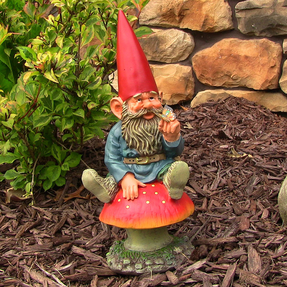 Sunnydaze adam with butterfly garden gnome 14 for Gnome 3 decoration fenetre