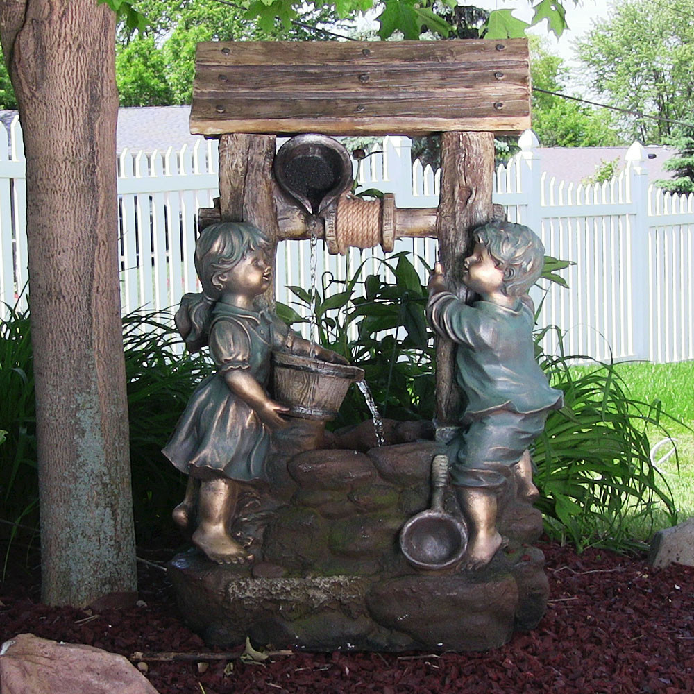 Children at the Well Outdoor Water Fountain LED Light Sunnydaze Decor  Photo