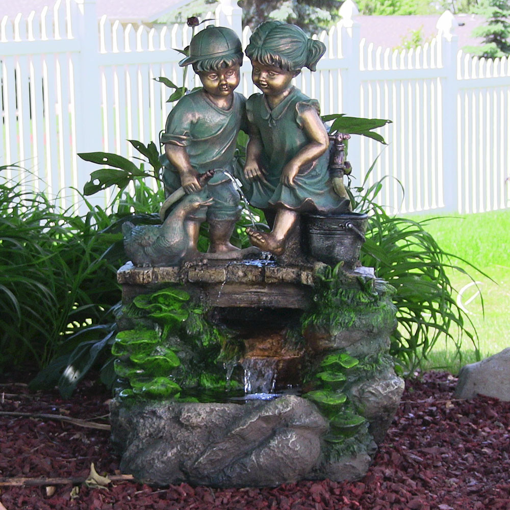 Children Discovering Nature Outdoor Water Fountain LED Light Sunnydaze D Picture 146