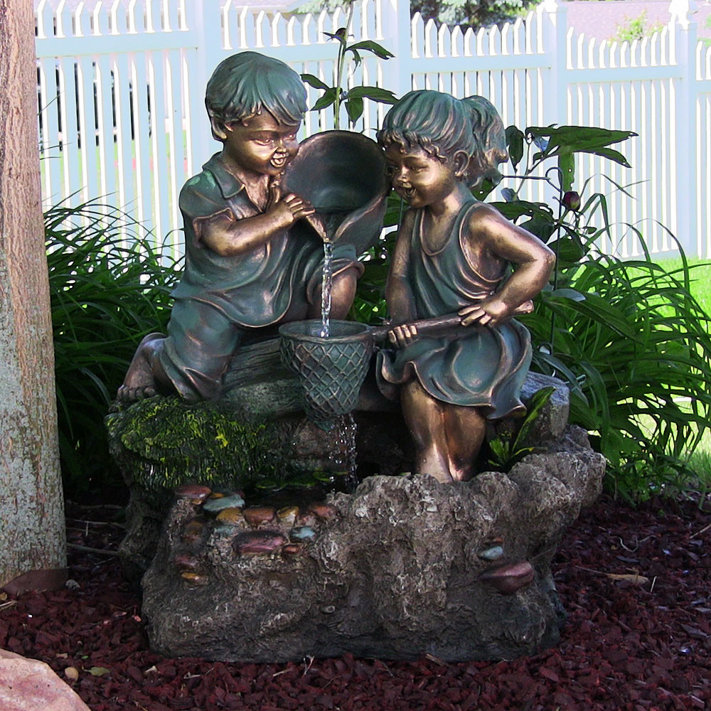 Boy Girl Playing Water Outdoor Fountain LED Light Sunnydaze Decor Picture 135