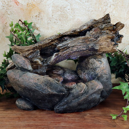 Sunnydaze Fallen Log on River Rock Tabletop Fountain with LED Lights, 10 Inch Tall