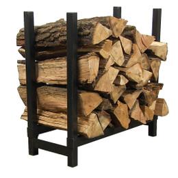 "Sunnydaze 24"" Black Steel Indoor Firewood Log Rack"