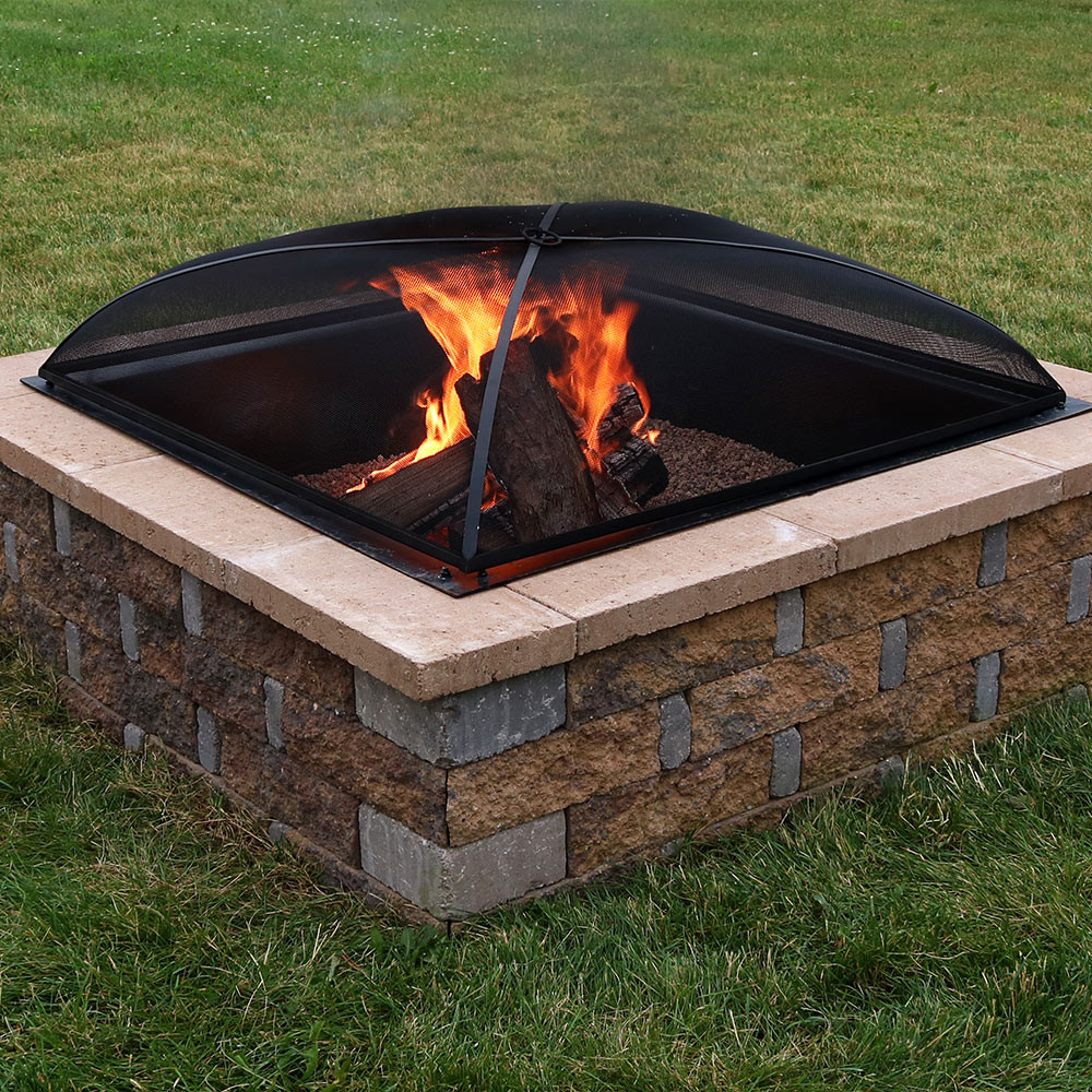 Sunnydaze square fire pit spark screen outdoor for Square fire ring