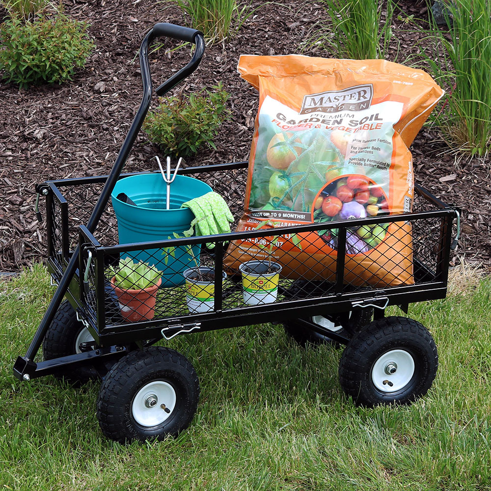 Sunnydaze Rolling Utility Cart with Removable Sides