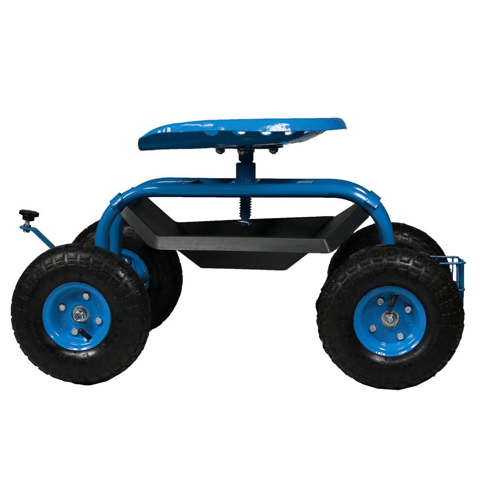 Sunnydaze Rolling Garden Work Seat Cart w Basket Tray