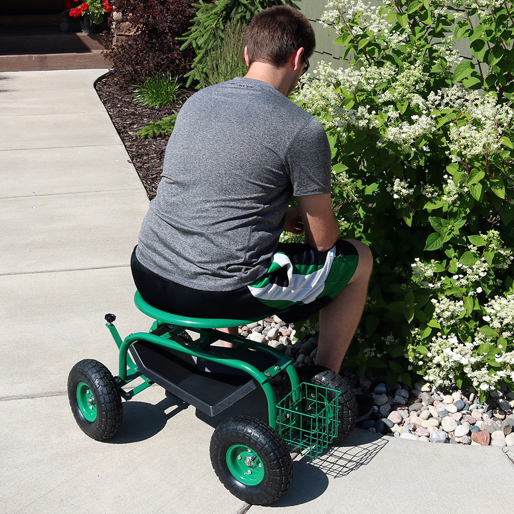 Rolling Garden Cart with Work Seat Basket and Tray