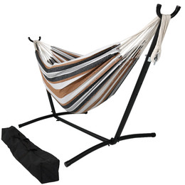 Medium image of sunnydaze brazilian double hammock with stand  2 person for indoor or outdoor use