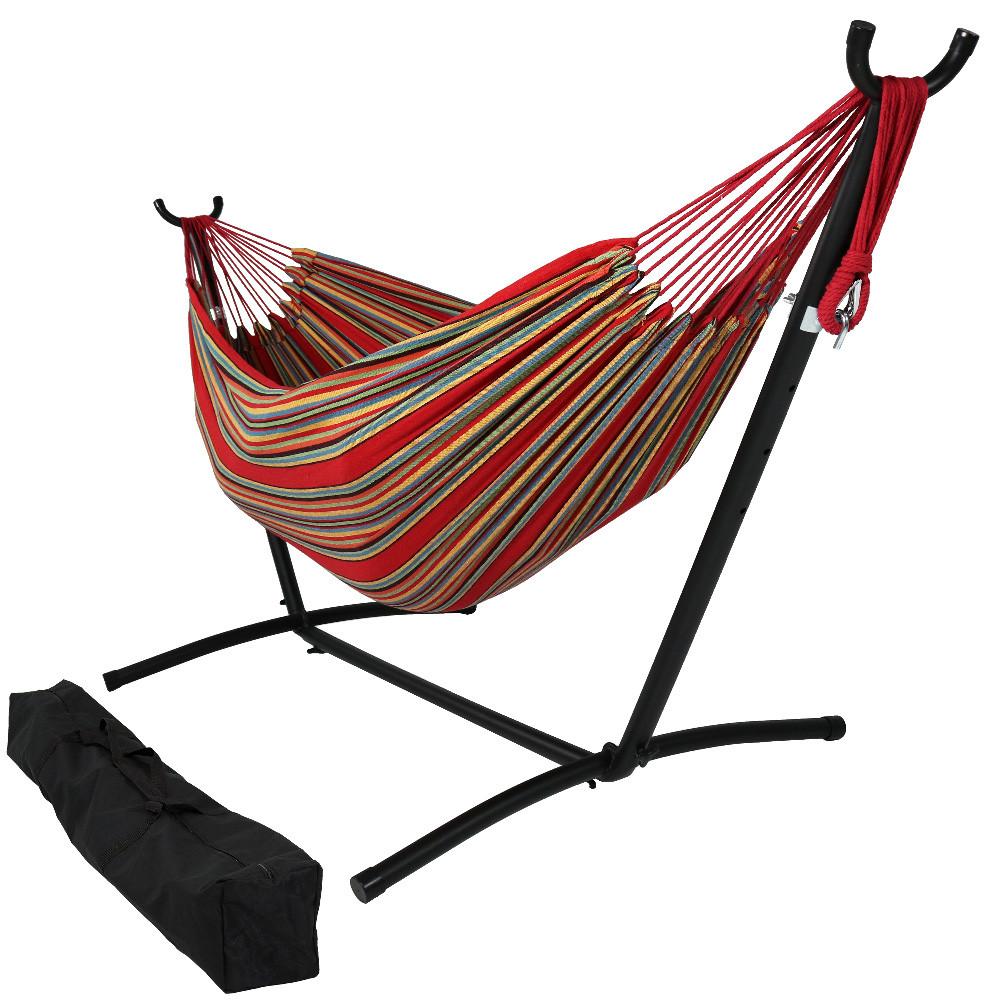sunset     sunnydaze cotton double brazilian hammock  u0026 stand  bo  rh   serenityhealth