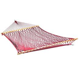 Sunnydaze Extra Large Caribbean Soft-Spun Polyester Rope Hammock with Spreader Bars, 450 Pound Capacity