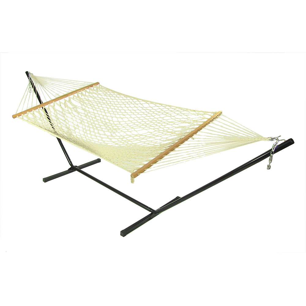 Sunnydaze Cotton Wide Rope Hammock Wood Spreader Bars Stand Com Photo