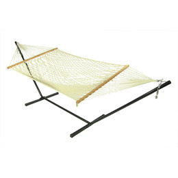 Sunnydaze Cotton Single Person Spreader Bar Rope Hammock with Stand, 350 Pound Capacity