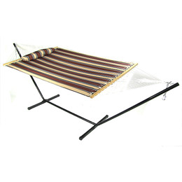 Sunnydaze 2 Person Freestanding Quilted Fabric Spreader Bar Hammock with Stand, Rocky Beach