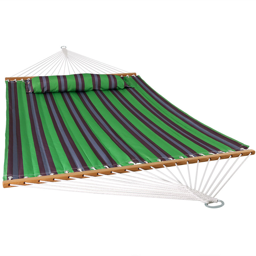 image 1  sunnydaze 2 person quilted fabric hammock with spreader bars      rh   serenityhealth