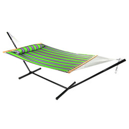 Sunnydaze 2 Person Freestanding Quilted Fabric Spreader Bar Hammock with Stand, Midnight Jungle