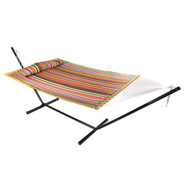 Sunnydaze 2 Person Freestanding Quilted Fabric Spreader Bar Hammock with Stand, Canyon Sunset