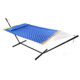 Sunnydaze Mountain View Quilted Double Fabric Hammock with Spreader Bar, Pillow and Stand Combo