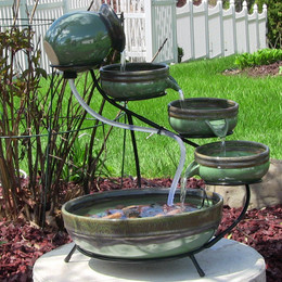 Sunnydaze Green/Sand Ceramic Cascade Solar Outdoor Water Fountain, 21 Inch Tall, Includes Solar Pump and Panel