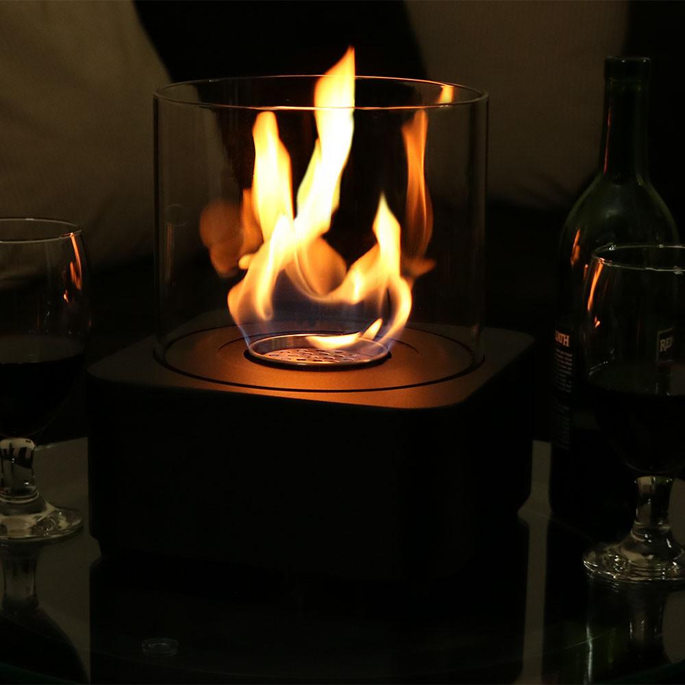 sunnydaze cilindro ventless bio ethanol tabletop fireplace dim lighting
