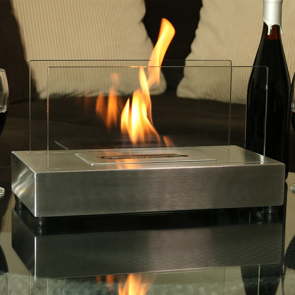 sunnydaze el fuego ventless ethanol tabletop fireplace
