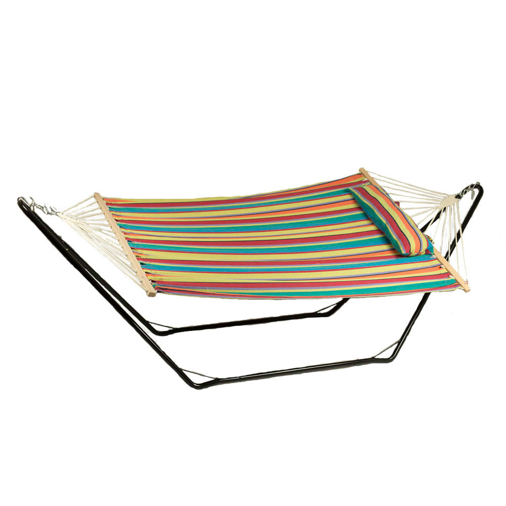 Sunnydaze Candy Stripe Cotton Fabric Hammock Spreader Bars Pillow Stand Picture 537