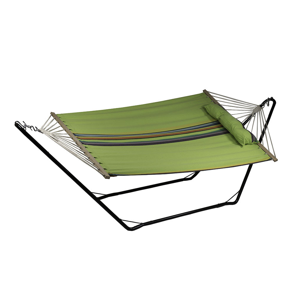 image 1  sunnydaze cotton fabric hammock and detachable pillow with 10 foot      rh   serenityhealth
