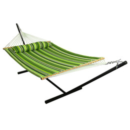 Sunnydaze Melon Stripe Quilted Double Fabric Hammock with Spreader Bar, Pillow and Stand Combo