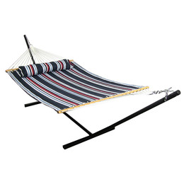 Sunnydaze 2 Person Freestanding Quilted Fabric Spreader Bar Hammock with Stand, Nautical Stripe
