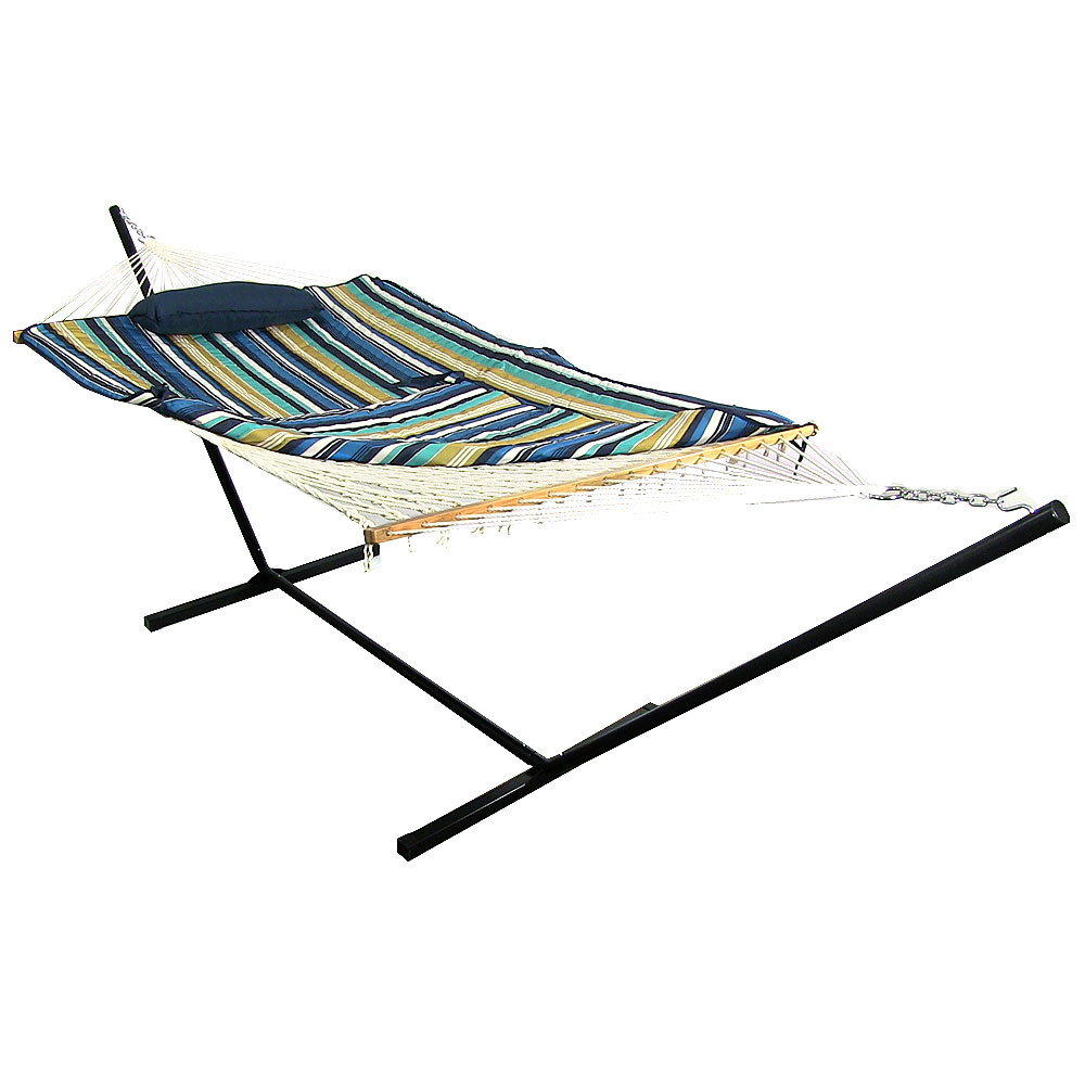 Sunnydaze Lakeview Rope Hammock Combo Stand Pad Pillow Wide Picture 492