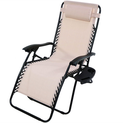 sunnydaze oversized zero gravity chair with pillow and cup holder beige single