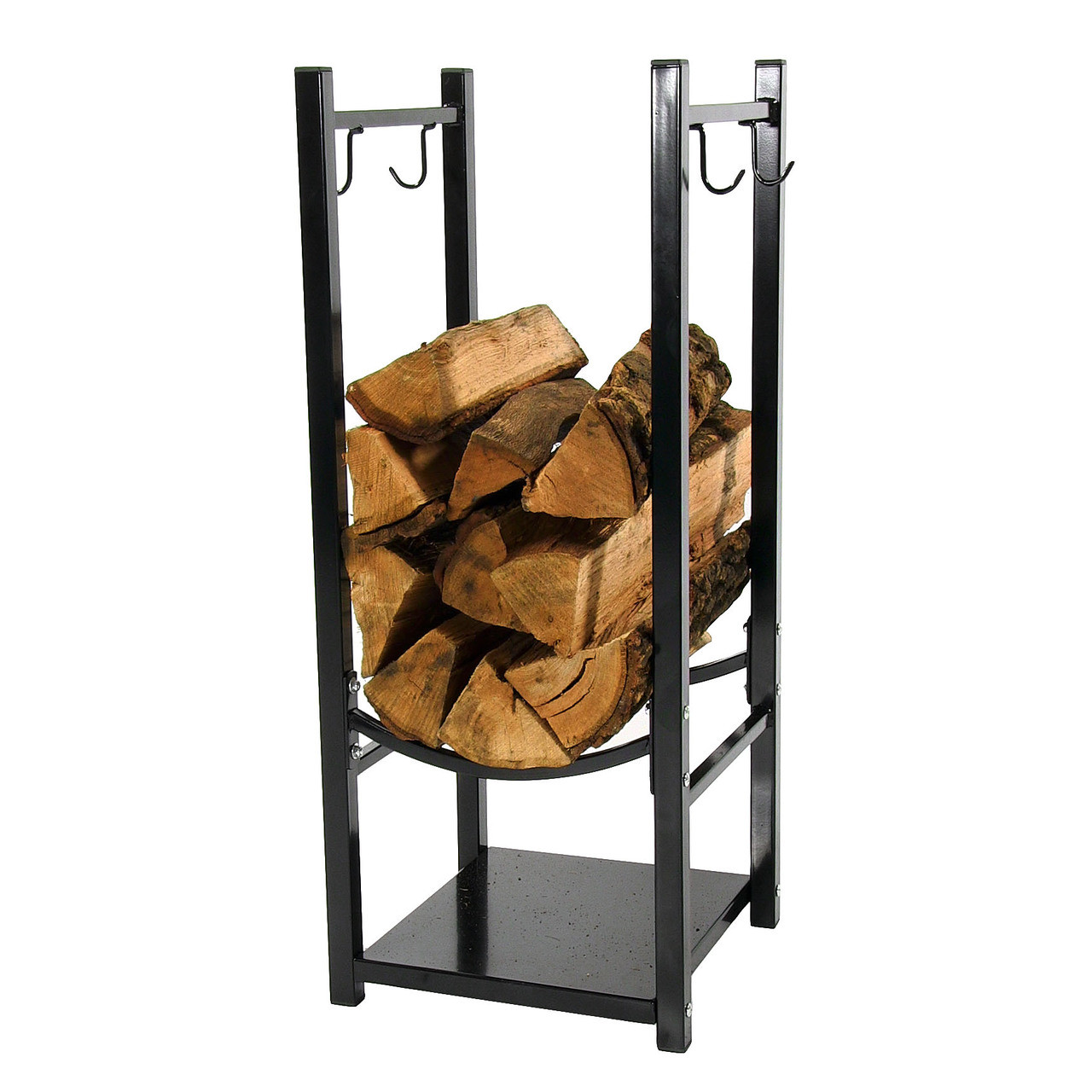 Sunnydaze Indoor/Outdoor Fireside Log Rack with Tool Holders ...