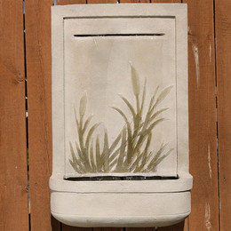 Outdoor Front View · Sunnydaze 24 Inch Modern Cattail Solar Outdoor Wall  Fountain