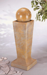 Henri Studio Cast Stone Sphere Bubbler Fountain on Tall Pedestal