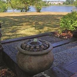 Henri Studio Cast Stone Sunflower Patio Bubbler Fountain