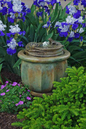 Henri Studio Cast Stone Frogs Patio Bubbler Fountain