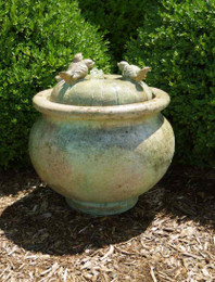 Henri Studio Cast Stone Birds Patio Bubbler Fountain