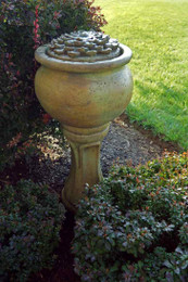 Henri Studio Cast Stone Tall Dahlia Patio Bubbler Fountain
