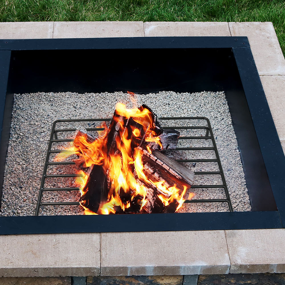 sunnydaze square steel outdoor fire pit wood grate