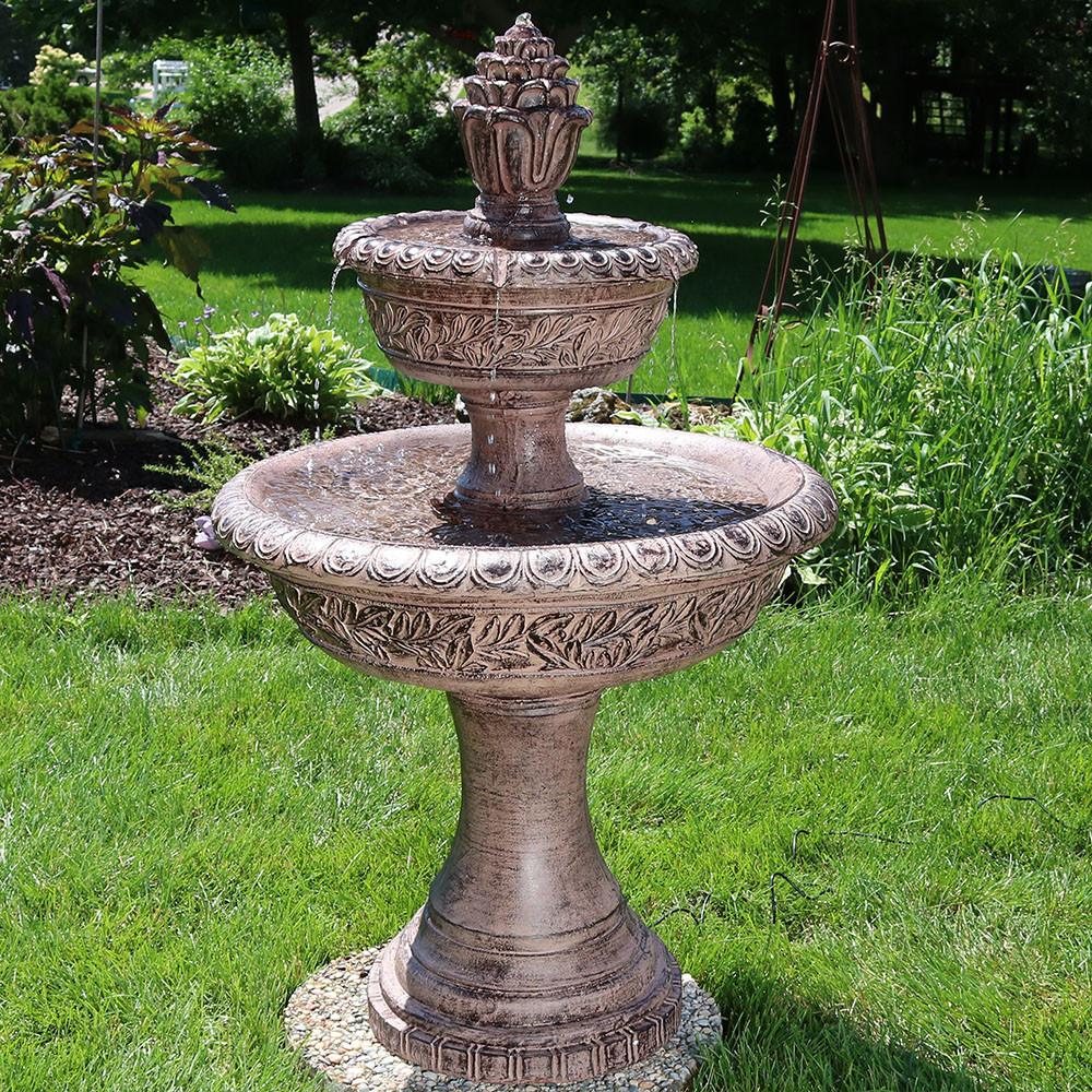 Sunnydaze Floral Tiered Solar On Demand Water Fountain