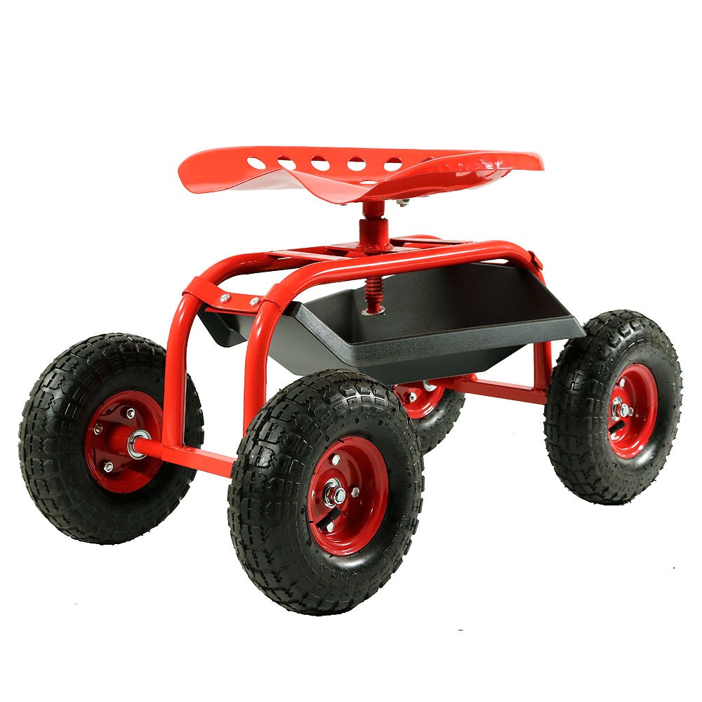 red rolling garden cart with 360 degree swivel seat u0026 tray